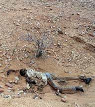 Body in Darfur, Sudan.  MASSACRES IN DARFUR remain rampant, a UN investigation has found, report June 14, 2006.  Photo: Taker and date of photo unknown/Raw story