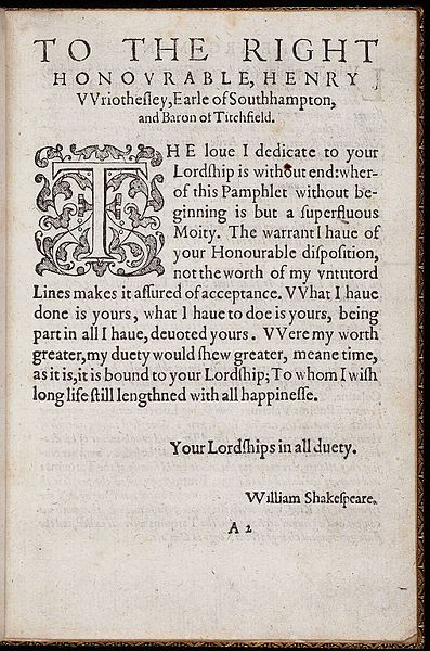 File:Dedication page of The Rape of Lucrece by William Shakespeare 1594.jpg