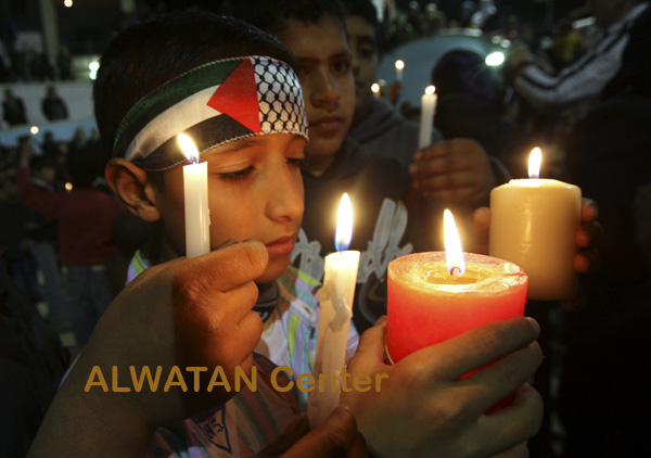 Febuary 14- 2009- Palestinian children light candle for Gaza Children peace during a rally in Hebron